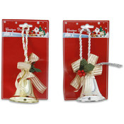 Bell Decoration Ribbon and Holly 7""