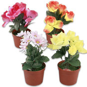 Flower in Pot, Plastic 12 Assorted Wholesale Bulk