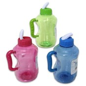 Plastic Water Bottle with Straw, Assorted Wholesale Bulk