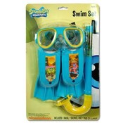 Spongebob 3Pc Swim Set Fins Snorkel Mask
