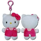Hello Kitty Pink Plush Zipper Pull Coin Purse Clip