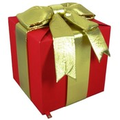 Polyester Fabric Giant Red Gift box with gold bow