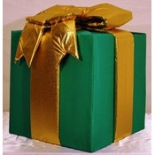 Polyester Fabric Giant Green Gift box w/ gold bow