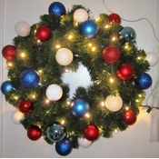 2' Pre-Lit Wreath w/ red, white and blue ornaments