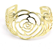 Rose Cut Out Cuff Metallic Bracelet- Assorted Colors