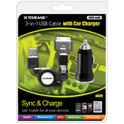 1000mAh 3-in-1 USB Cable w/    Car Charger