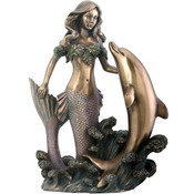 7.5&quot; Statue Mermaid With Dolphin