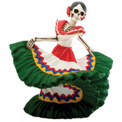 Figurine - Day of the Dead Dancing Senorita Green