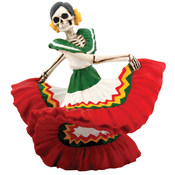 Figurine - Day of the Dead Dancing Senorita Red