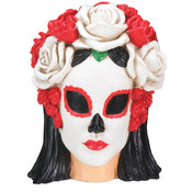 Day of the Dead Black & White Skull Head- Woman