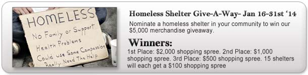 Homeless Shelter Giveaway
