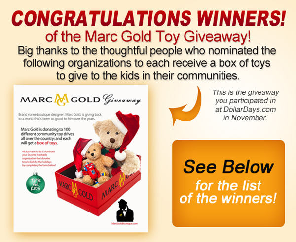 Congratulations winners of the Marc Gold Toy Giveaway