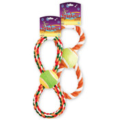 Spunkeez Figure 8 Rope with Ball Dog Toy