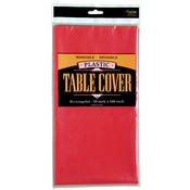 Rectangle Plastic Table Cover - Red