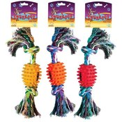 Spunkeez Rope with Vinyl Spiked Ball Dog Toy