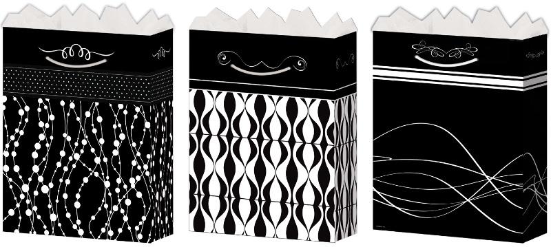 Wholesale Medium Black White Gift Bags Gloss Sku 1281140 Dollardays