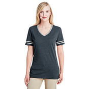 Jerzees Women's 4.5 oz. Tri-Blend Varsity V-Neck T-Shirt - Black Heather/ Oxford - Large