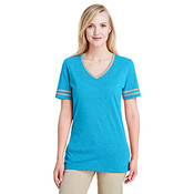 Jerzees Women's 4.5 oz. Tri-Blend Varsity V-Neck T-Shirt - Caribbean Blue Heather/ Oxford - Large
