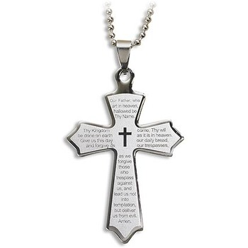 Wholesale religious jewelry wholesale christian jewelry dollardays our father laser engraved cross pendant 12pk aloadofball Image collections