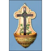 Cross with Vine Holy Water Font