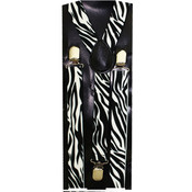 Men's Black and White Zebra Suspenders