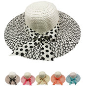 Woman's Summer Hat with Polka Dot Bow