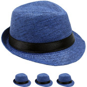 Children's Navy Blue With Black Band Fedora Hat