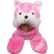 Pink Wolf Animal Winter Hat With Mittens
