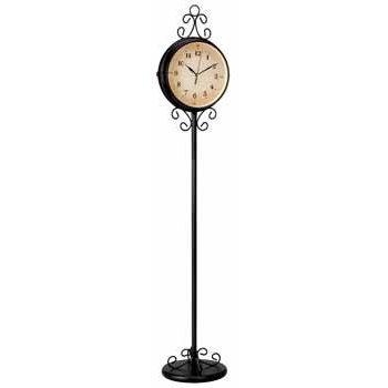 Double Sided Wrought Iron Floor Clock