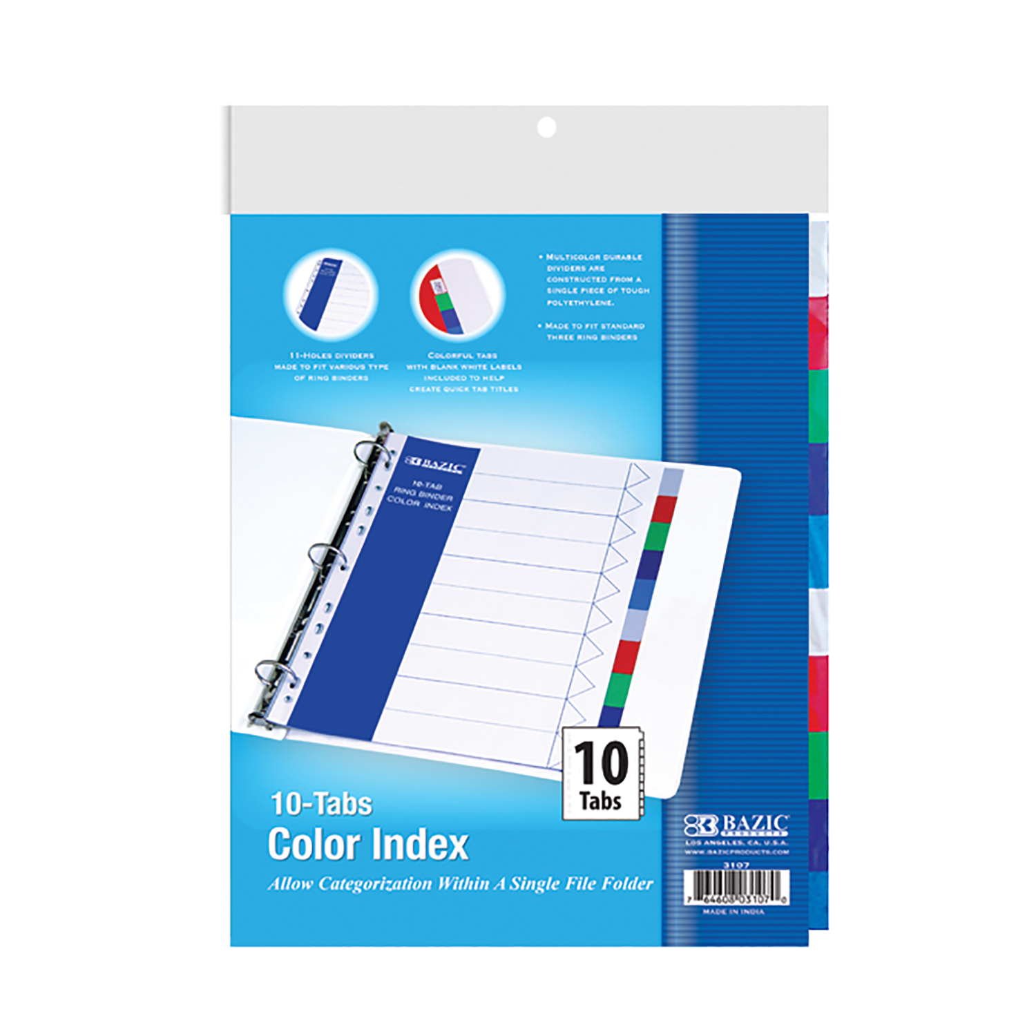 Wholesale Bazic 3-Ring Binder Dividers With 10-Color Tabs