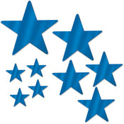 Packaged Foil Star Cutouts - Blue