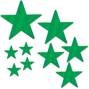 Packaged Foil Star Cutouts - Green