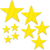 Packaged Foil Star Cutouts - Gold