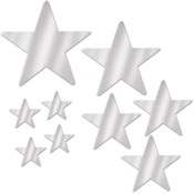 Packaged Foil Star Cutouts - Silver