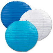 Paper Lanterns - Assorted Blue, White, Turquoise