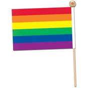 Rainbow Flag - Fabric - with 10½ Ball-Tipped Wooden Stick