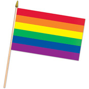Rainbow Flag - Fabric - with 22 Spear-Tipped Wooden Stick