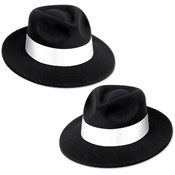 Black Velour Fedora with Band
