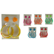 Acrylic Heart & Hoop Earrings - 2 Pairs
