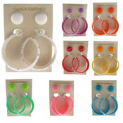 Acrylic Stud & Cartoon Print Hoop Earrings - 2 Pairs