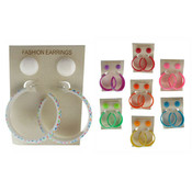 Acrylic Stud & Star Print Hoop Earrings - 2 Pairs