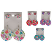 Floral Print Stud & Hood Earrings - 2 Pairs