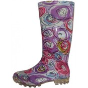 Women's Abstract Multi-colors Print Rain Boots (Size 6-11)