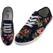 Women's Navy Roses Printed Canvas Shoes (24 pairs)