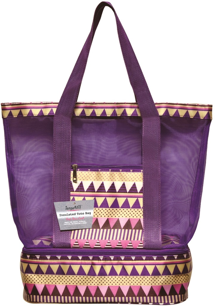 Wholesale Tempamate Insulated Tote Bag Purple White Sku