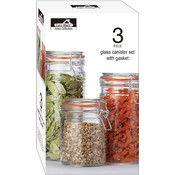 3 Pc Glass Storage Jar Containers Set with Gasket