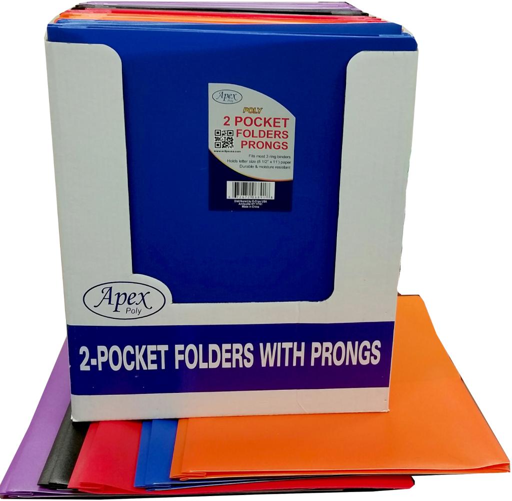 Wholesale Premium Plastic Two Pocket 3 Prong Folders (SKU