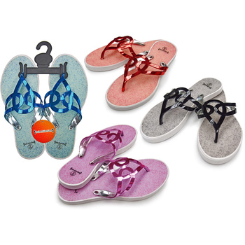 1376fc3fca62d Wholesale Women s T-Strap Sandal Flip Flops with Metallic Straps ...