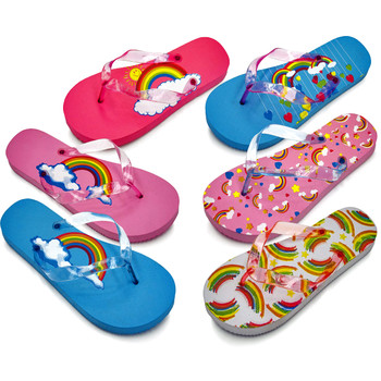 Wholesale shoes bulk flip flops discount boots dollardays girls rainbow print flip flops publicscrutiny Gallery