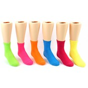 Kid's Crew Socks - Solid Neon Colors - Size 6-8